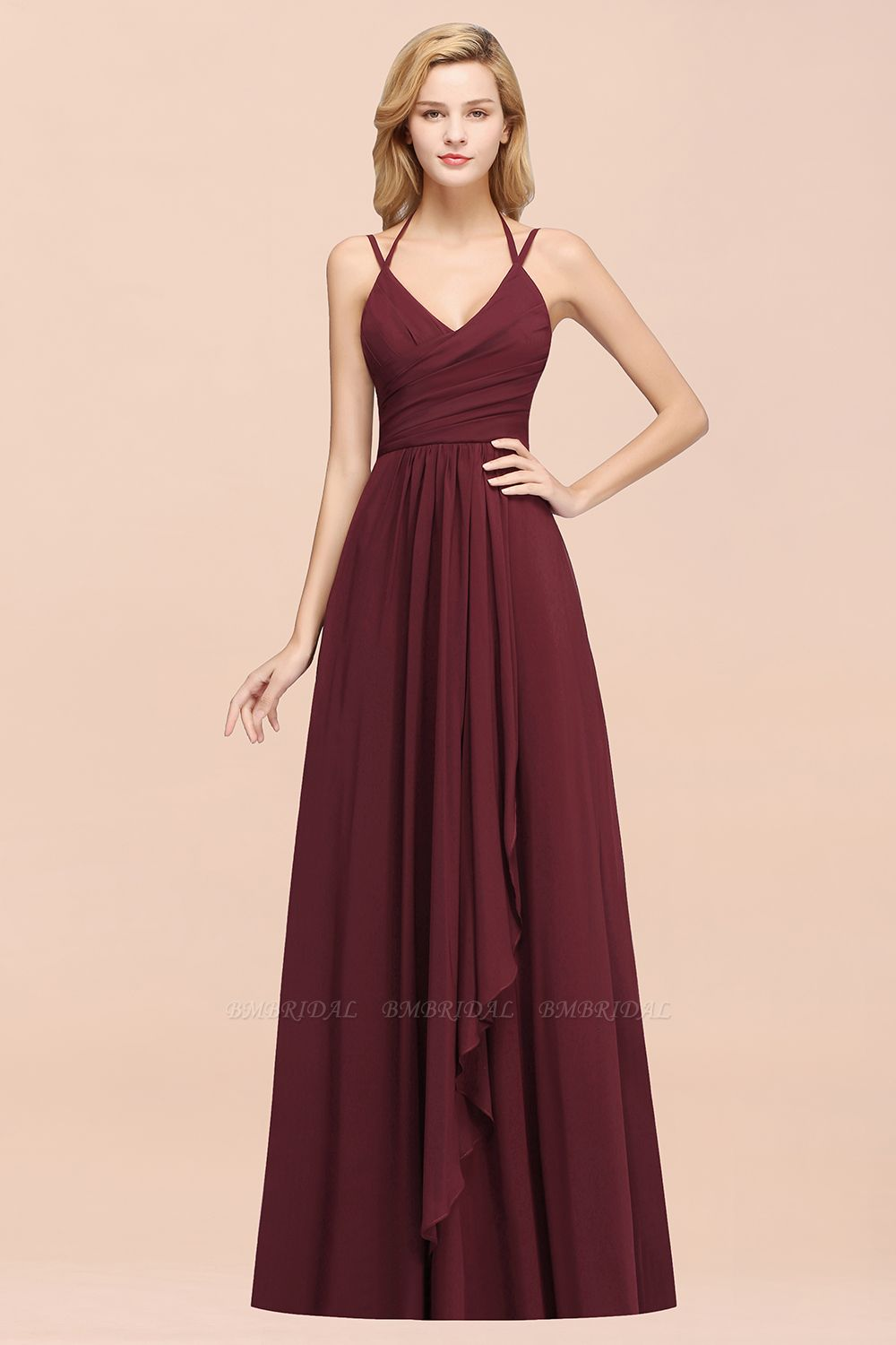 BMbridal Affordable Chiffon Burgundy Bridesmaid Dress With Spaghetti Straps