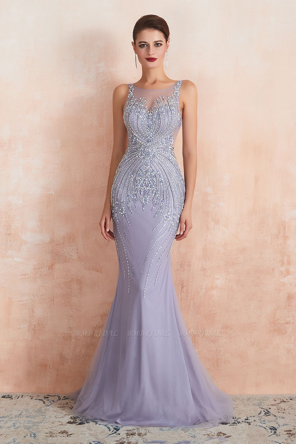 BMbridal Luxurious Lilac Crystal Prom Dress Mermaid Long Evening Gowns
