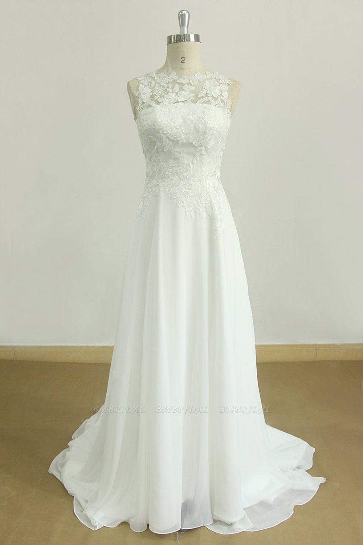 BMbridal Glamorous Jewel Sleeveless Appliques Wedding Dress Lace White Chiffon Bridal Gowns On Sale