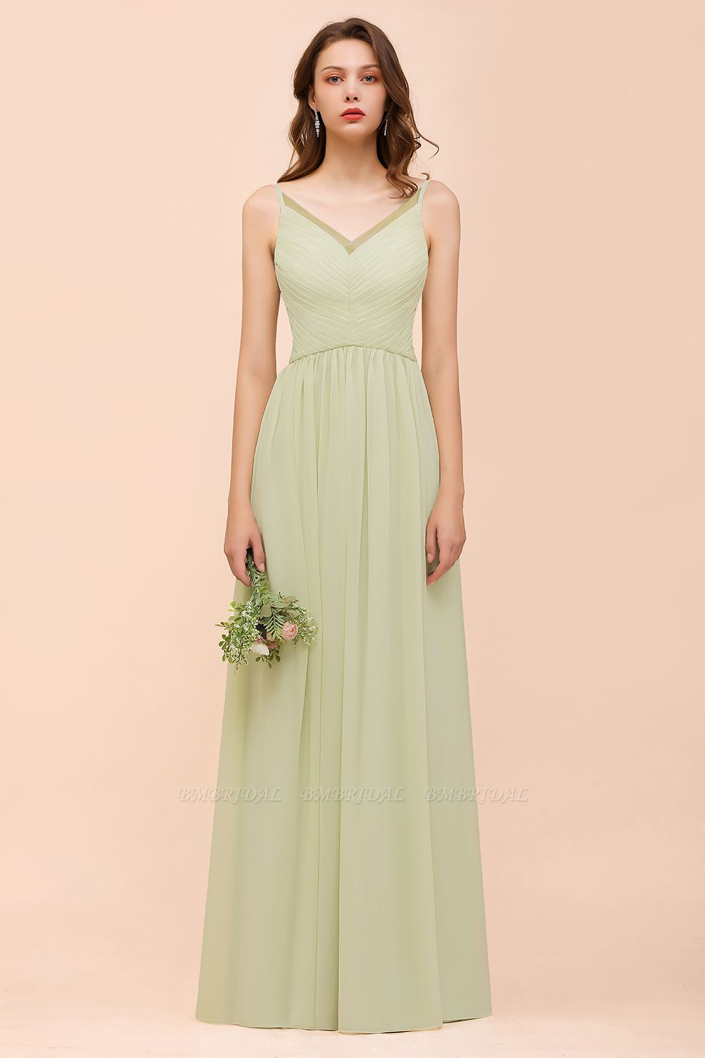 BMbridal Popular V-Neck Sage Chiffon Affordable Bridesmaid Dress with Low Back