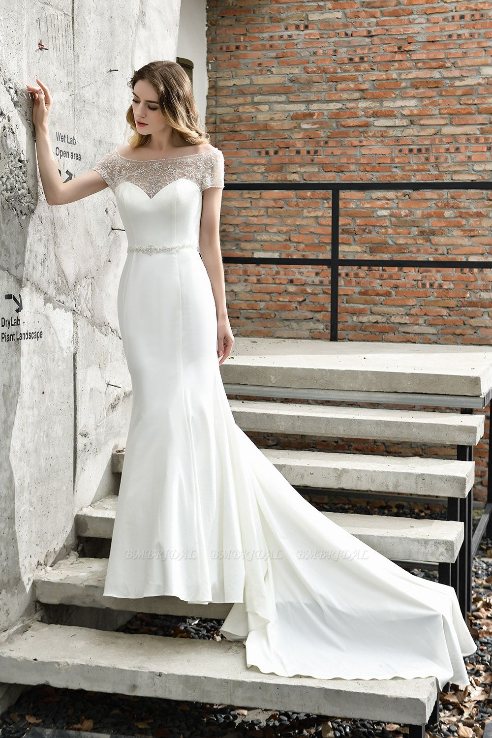 Mermaid Satin Lace Off the Shoulder Affordable Ivory Wedding Dress