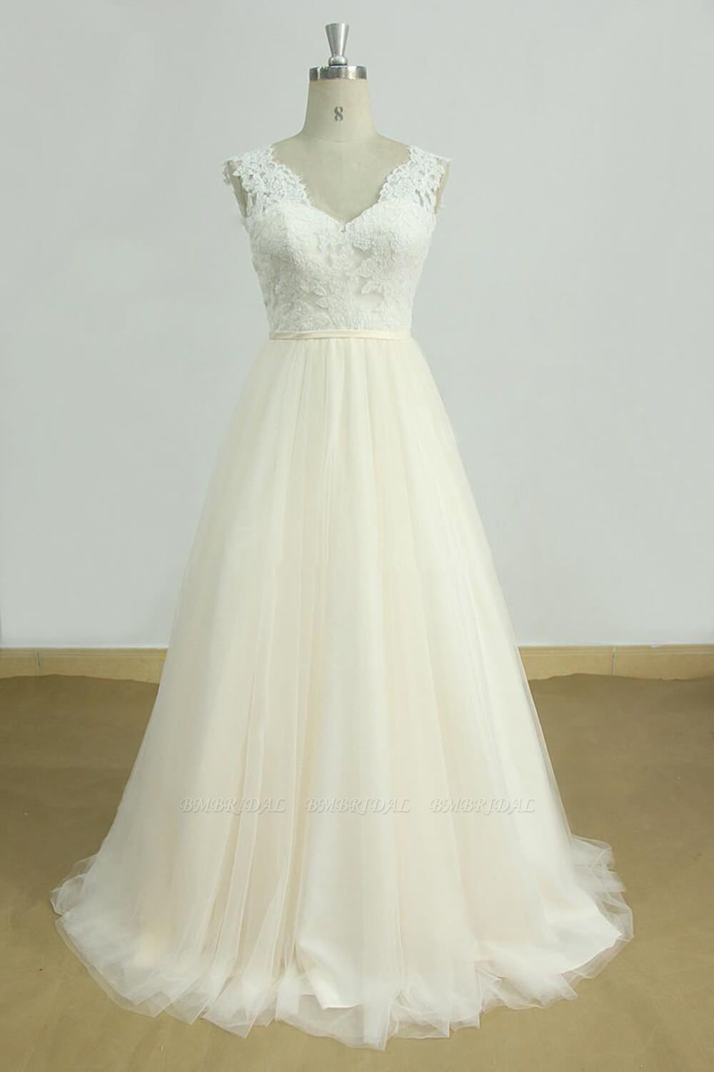 BMbridal Elegant Lace Straps V-neck Appliques Wedding Dress Tulle Ruffles A-line Bridal Gowns On Sale