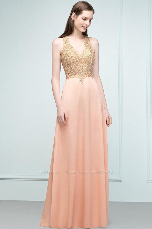 BMbridal A-line Floor Length V-neck Sleeveless Appliques Chiffon Prom Dress