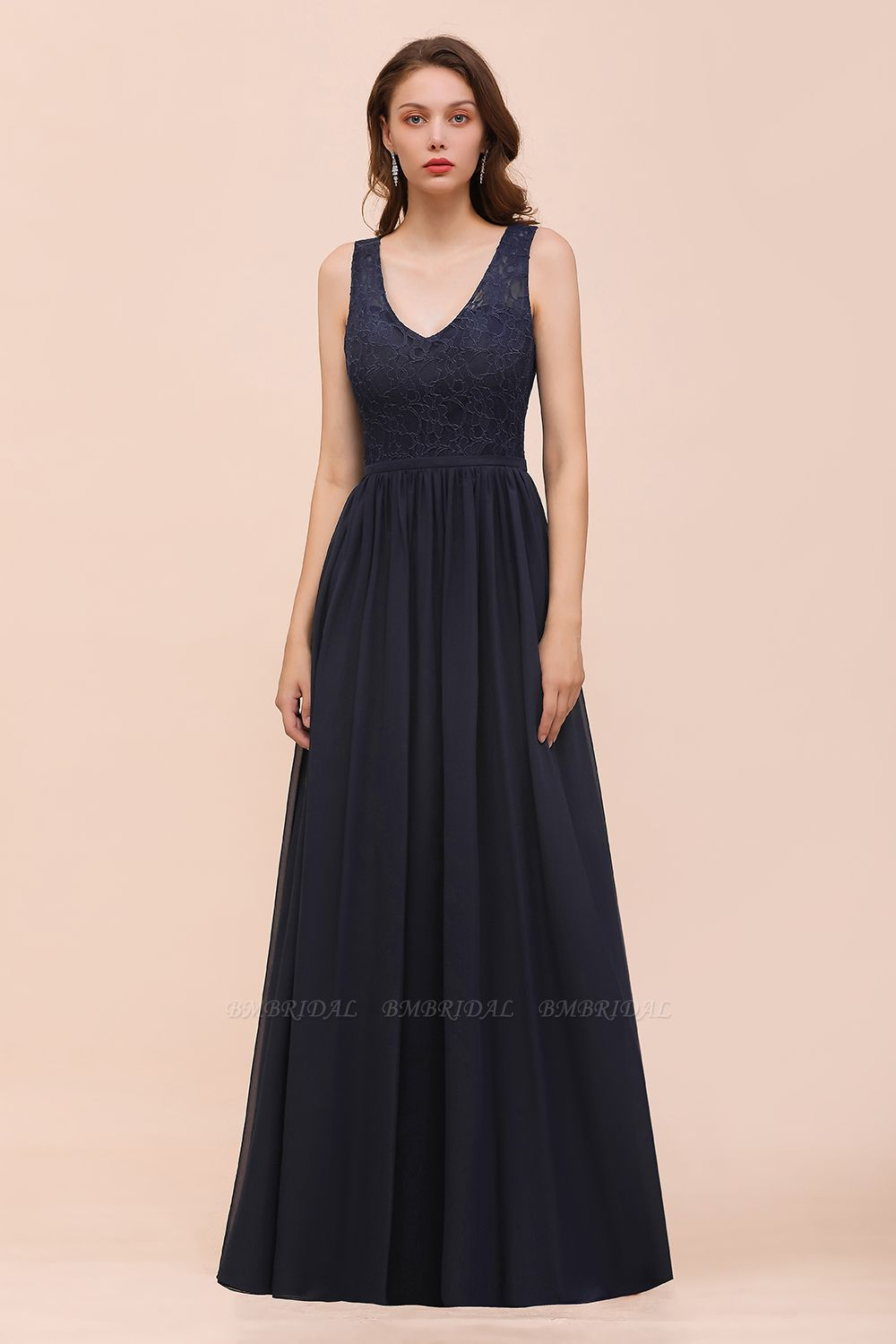 Affordable Lace V-Neck Navy Bridesmaid Dress with Open Back