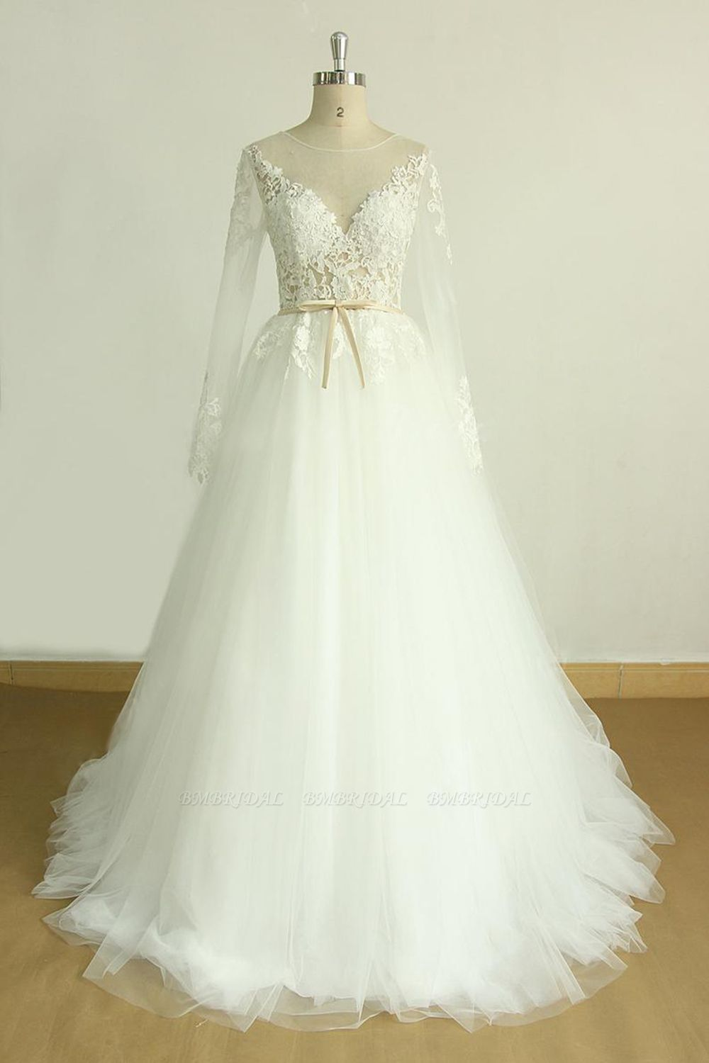 BMbridal Chic Jewel Longsleeves Tulle Wedding Dress Appliques Lace A-line Bridal Gowns On Sale