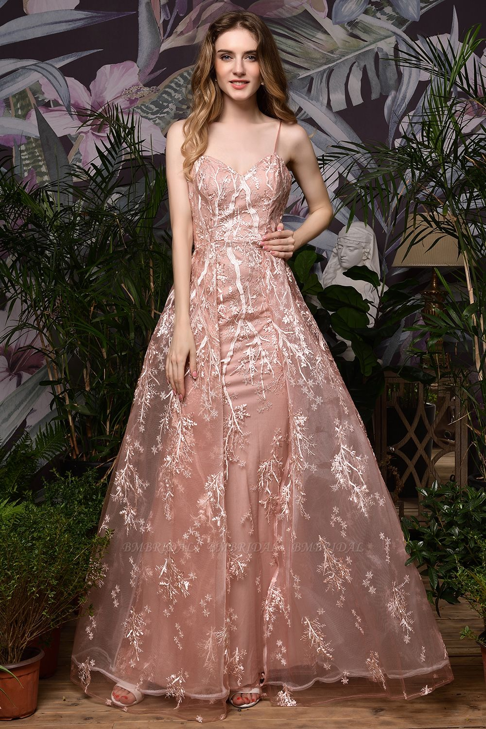 Pink Spaghetti-Straps Appliques Prom Dress Long Evening Gowns Overskirt