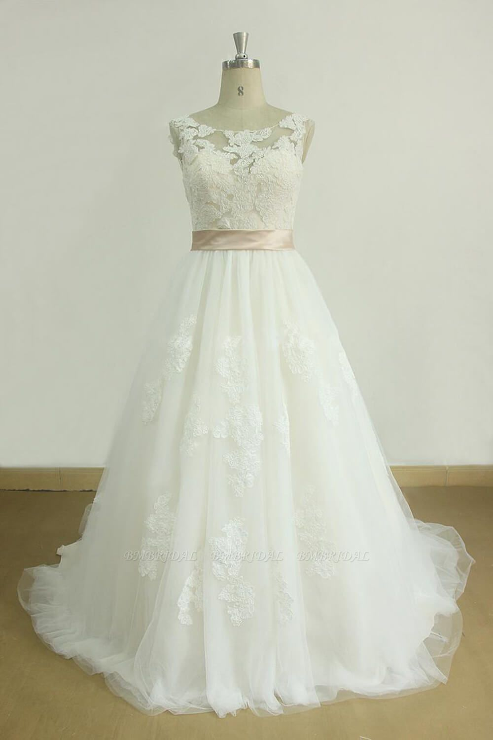 BMbridal Chic Jewel Lace Appliques Wedding Dress Sleeveless Tulle A-line Bridal Gowns On Sale