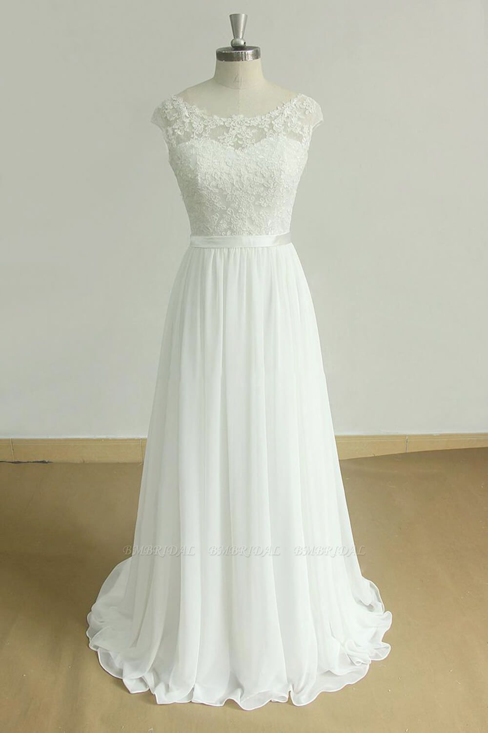 BMbridal Stylish White Chiffon Lace Wedding Dresses Jewel Sleeveless Bridal Gowns On Sale