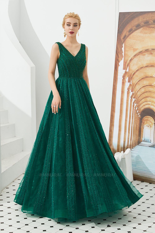 Glamorous Green V-Neck Sleeveless Prom Dress Long With Beadings Online