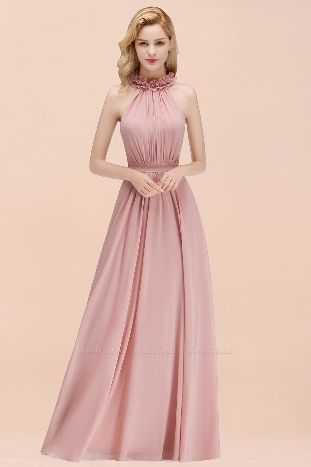 Modest High-Neck Halter Ruffle Chiffon Bridesmaid Dresses Affordable