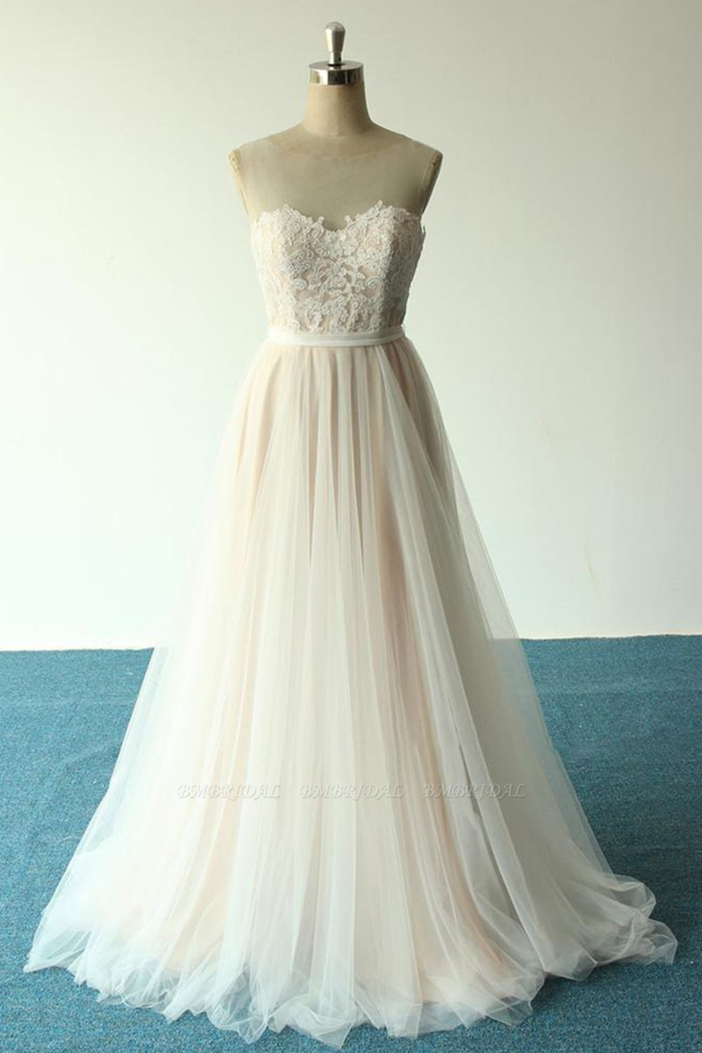 Affordable Jewel Sleeveless A-line Wedding Dresses Tulle Lace Bridal Gowns Online
