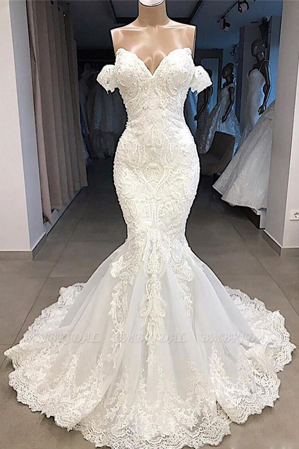 BMbridal Sexy Sweetheart Off-the-shoulder White Wedding Dresses Mermaid Lace Bridal Gowns With Appliques Online