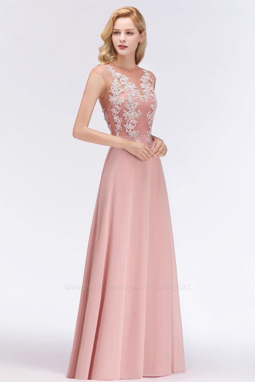 BMbridal A-line Jewel Sleeveless Chiffon Tulle Lace Bridesmaid Dress