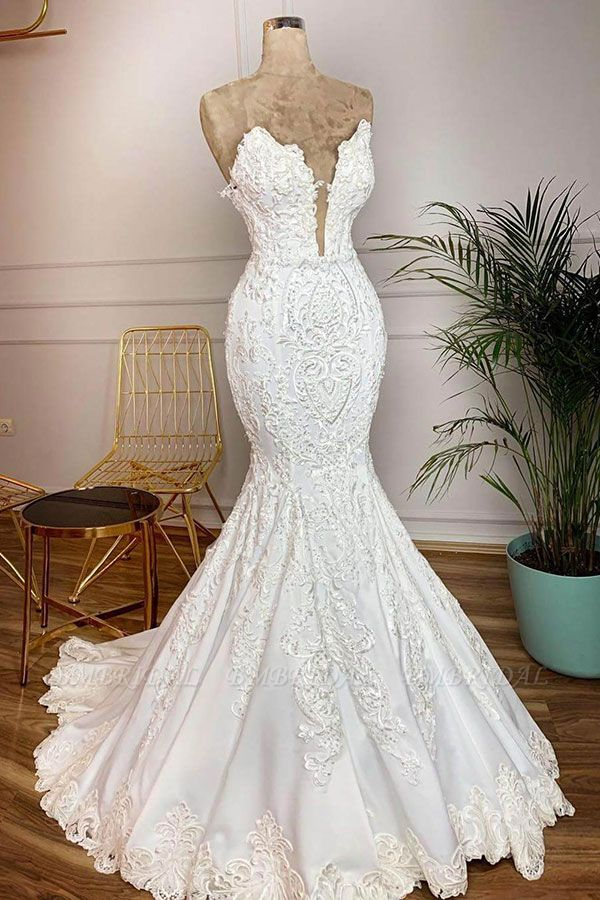 BMbridal Elegant Satin Sweetheart Mermaid Wedding Dresses White Lace Bridal Gowns With Appliques Online