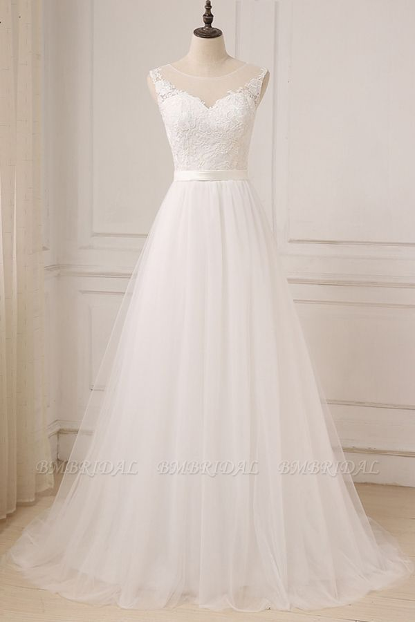 BMbridal Glamorous Tulle Sleeveless Jewel Wedding Dress White A-line Appliques Bridal Gowns On Sale