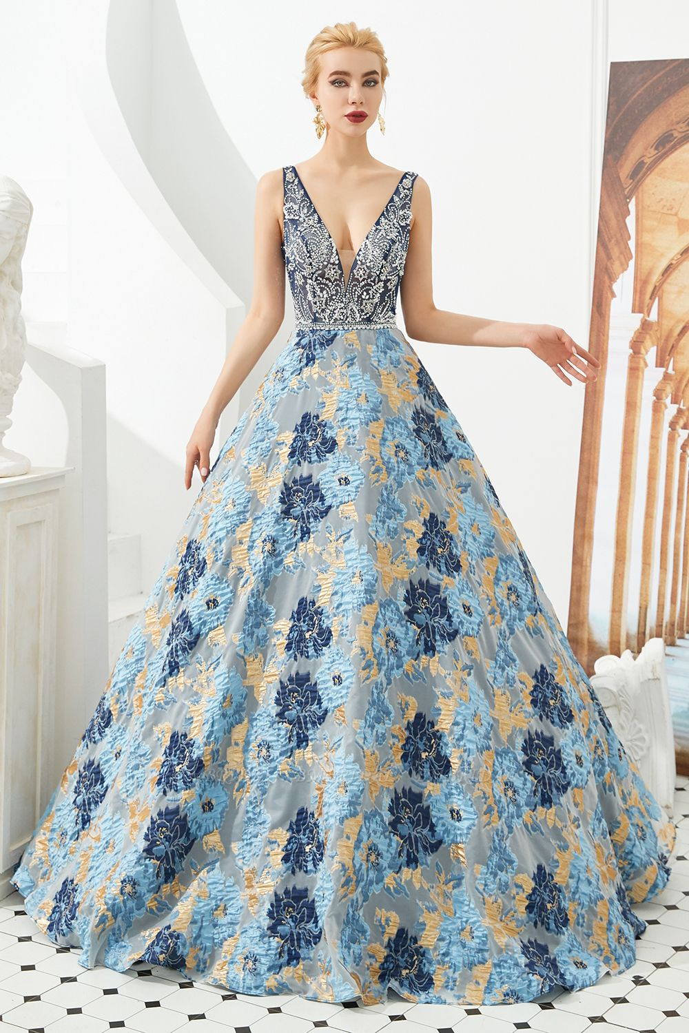 BMbridal Glamorous V-Neck Sleeveless Print Prom Dress Long Beadings Evening Gowns