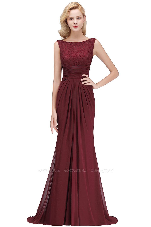 BMbridal Mermaid Burgundy Chiffon Ruffles Evening Dress