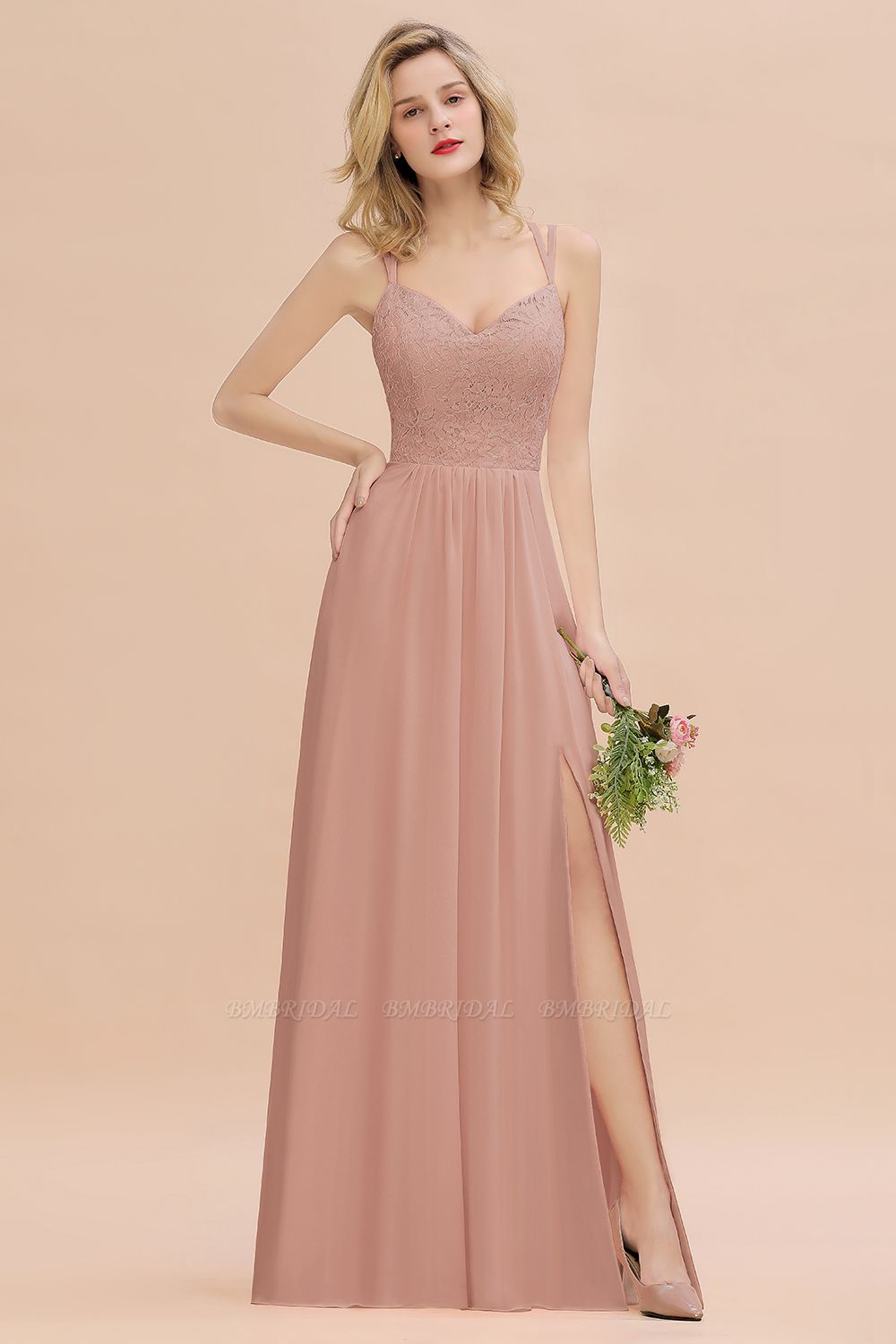 BMbridal Sexy Spaghetti-Straps Coral Lace Bridesmaid Dresses with Slit