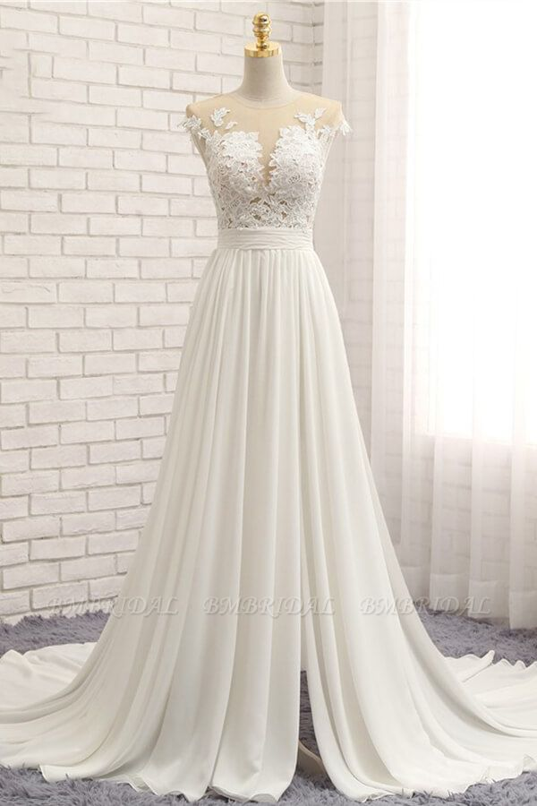 Elegant Chiffon Sleeveless Appliques Wedding Dress A-line Jewel White Bridal Gowns On Sale