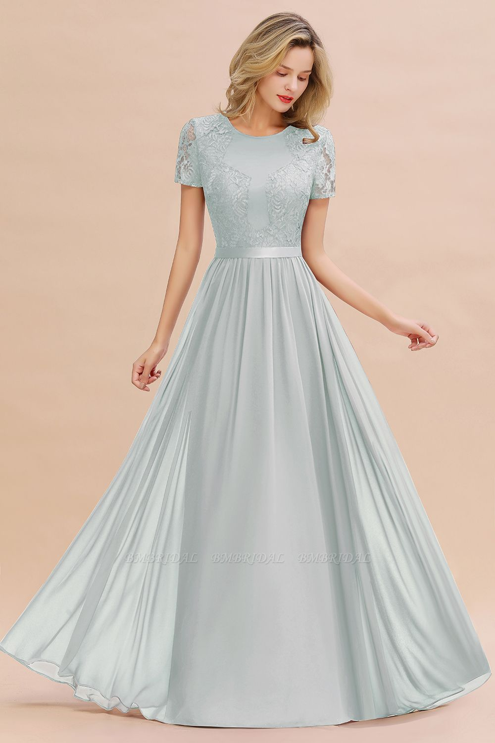 Elegant Chiffon Lace Jewel Short-Sleeves Affordable Bridesmaid Dress