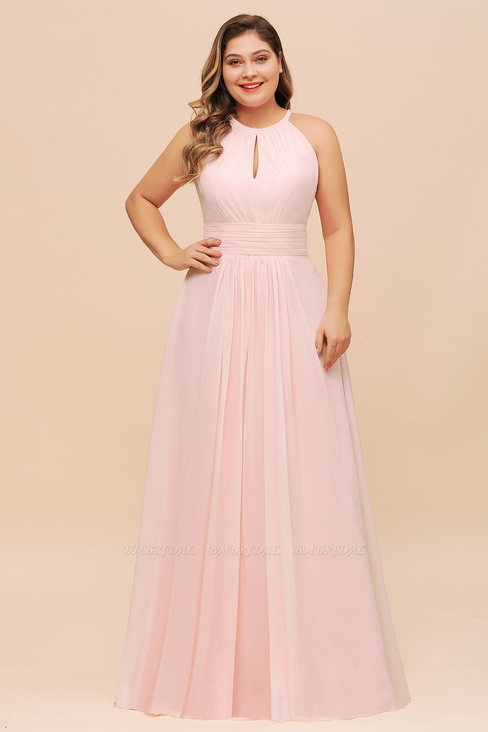 BMbridal Affordable Plus Size Chiffon Round Neck Pink Bridesmaid Dress
