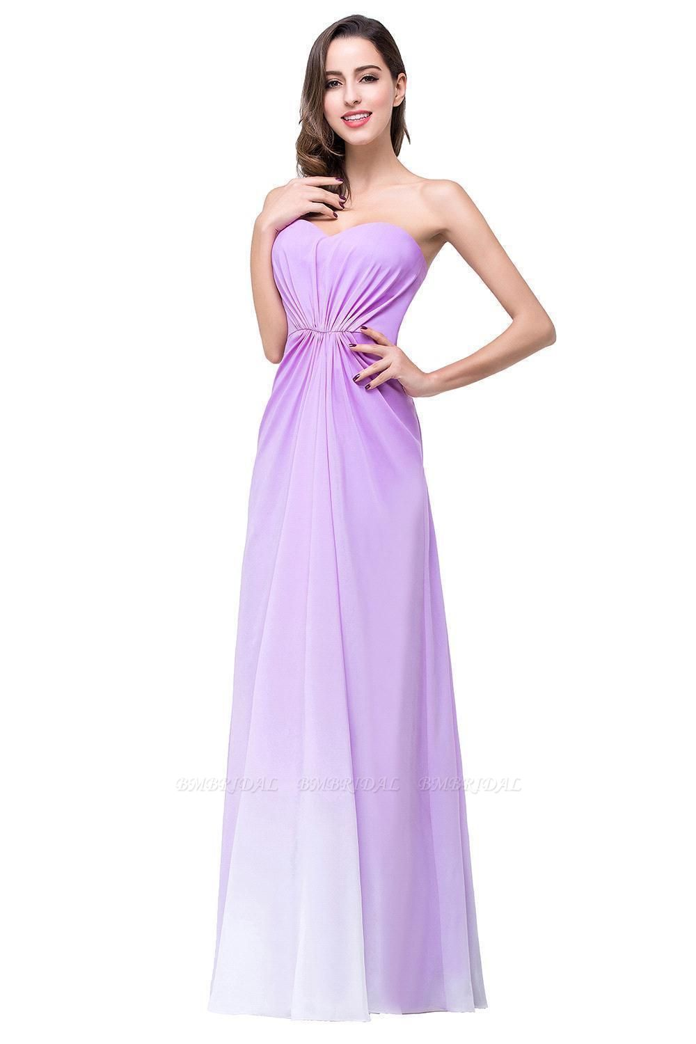 BMbridal Gorgeous A-line Strapless Lilac Chiffon Bridesmaid Dress Affordable In Stock
