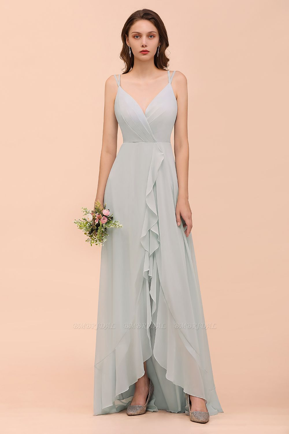 BMbridal Affordable V-Neck Ruffle Mist Chiffon Bridesmaid Dresses Affordable
