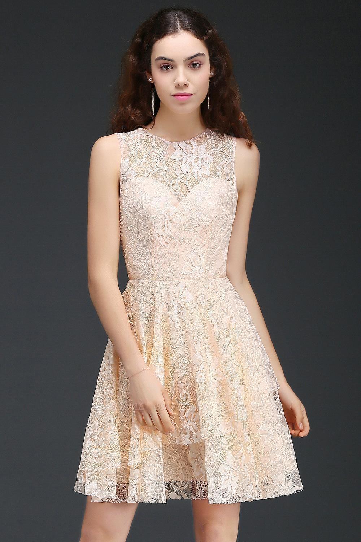 BMbridal Modern Lace Pearl Pink Illusion Sleeveless Short Homecoming Dress