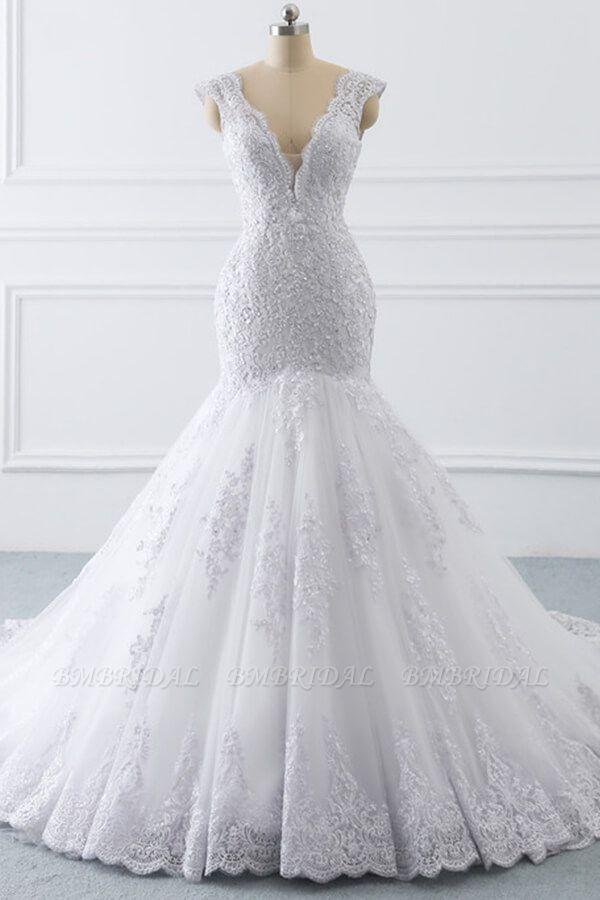 BMbridal Gorgeous V-neck Sleeveless Mermaid Wedding Dress Lace White Bridal Gowns On Sale