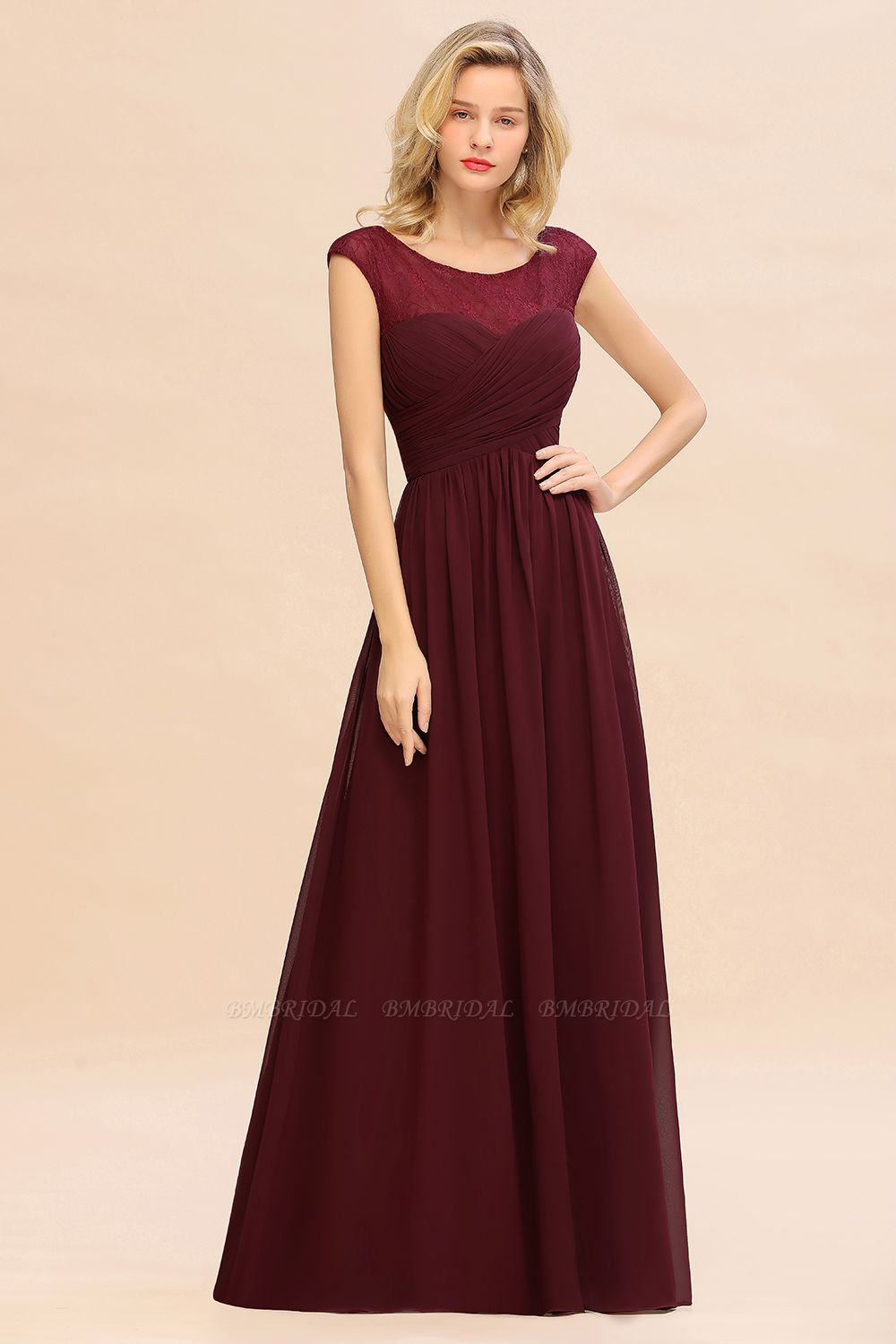 BMbridal Modest Burgundy Chiffon Sleeveless Ruffle Bridesmaid Dress Affordable