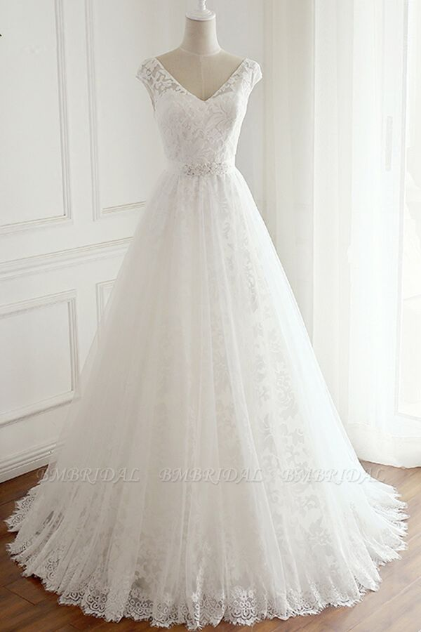 BMbridal Gorgeous Lace V-neck Appliques Wedding Dress White Tulle A-line Bridal Gowns On Sale