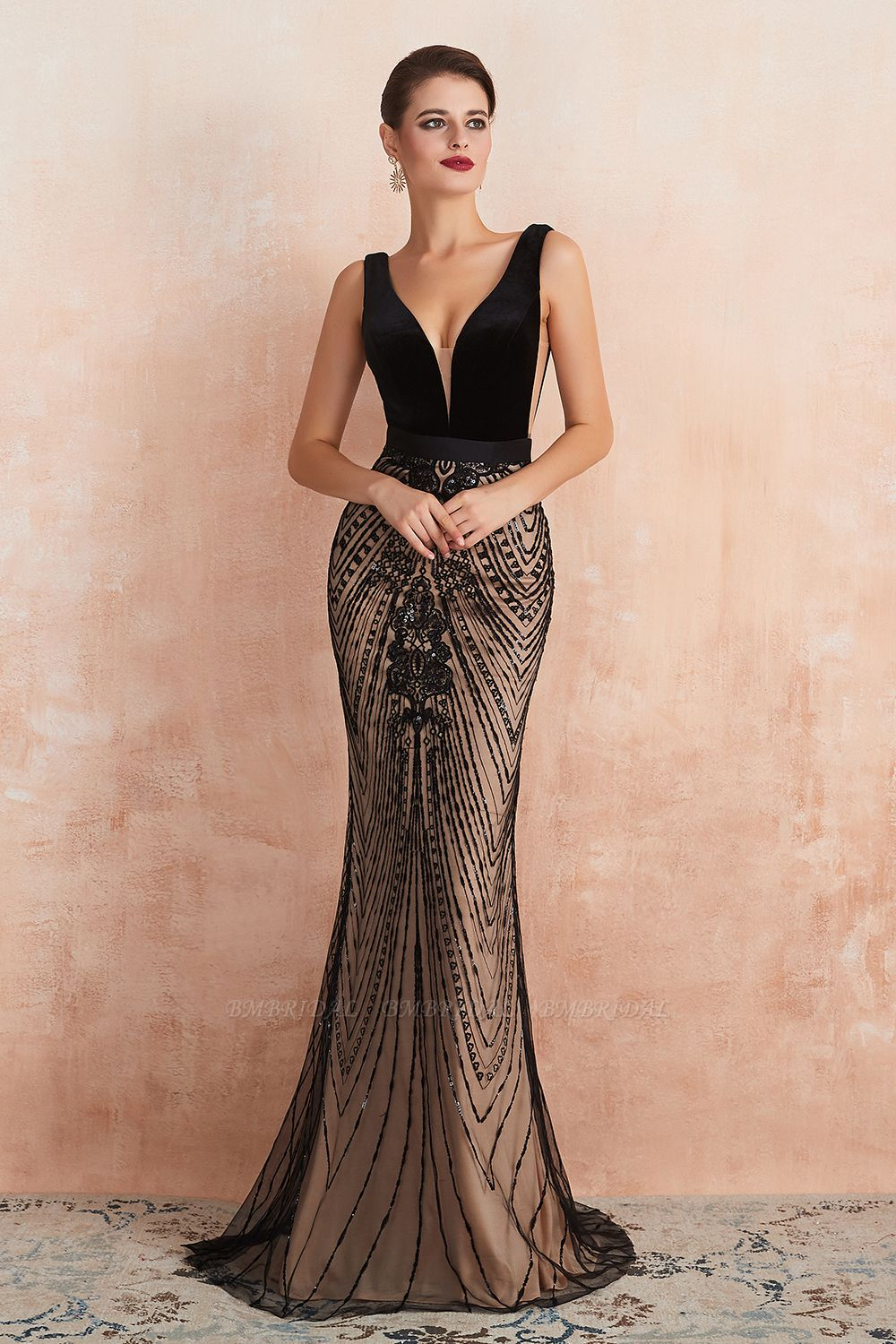BMbridal Sexy Black Lace Mermaid Prom Dress Long Sleeveless Evening Party Gowns Online