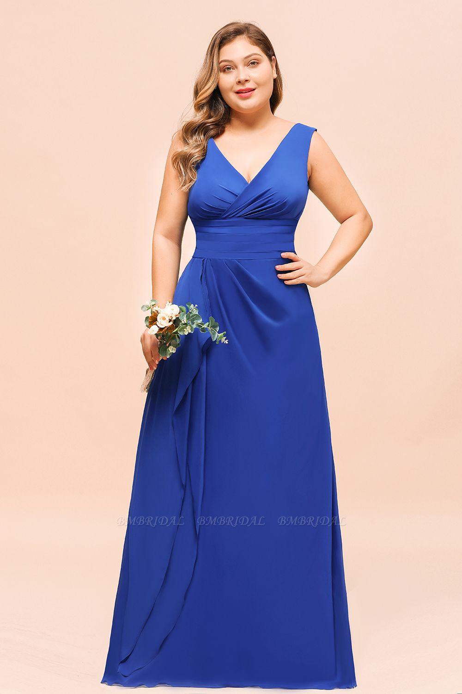 Elegant V-Neck Sleeveless Chiffon Plus Size Bridesmaid Dress