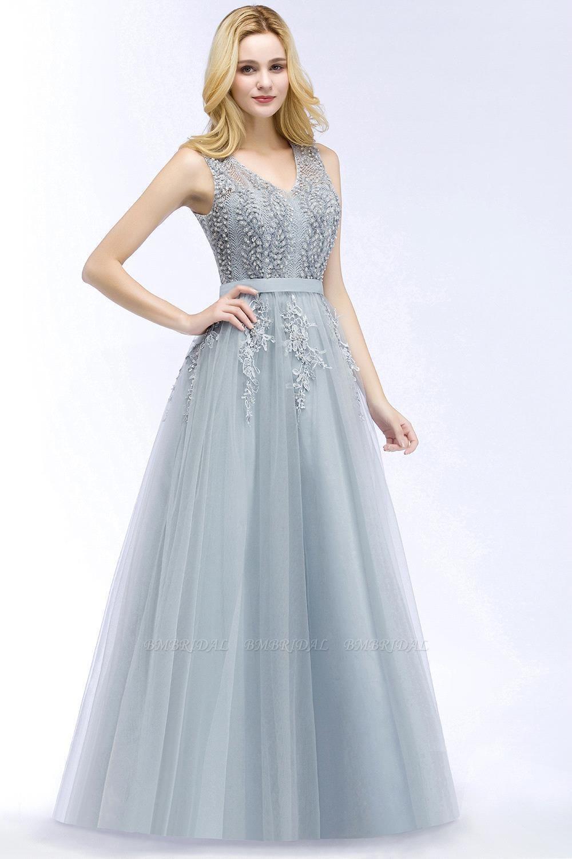 BMbridal Stylish V-neck Tulle Lace Long Evening Dress