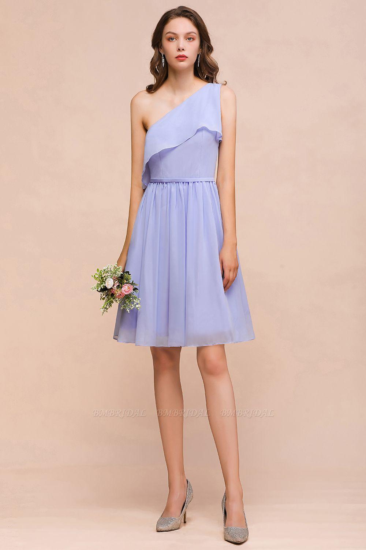 Affordable One Shoulder Ruffle Lavender Chiffon Short Bridesmaid Dress