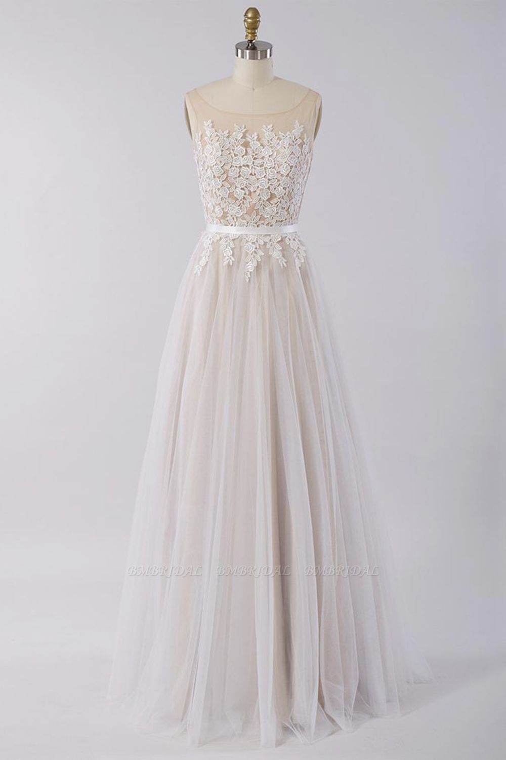 Affordable Sleeveless Jewel Appliques Wedding Dress Tulle Ruffles A-line Bridal Gowns On Sale