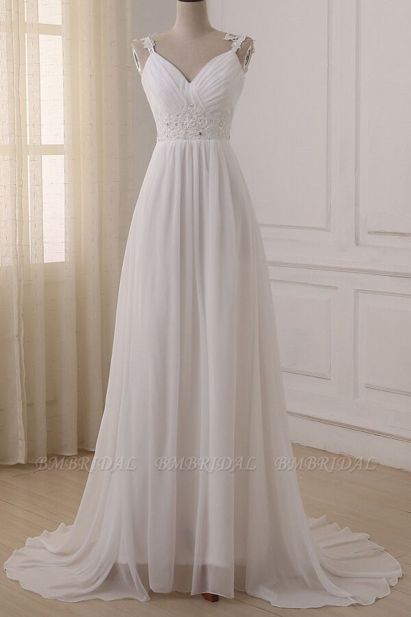 BMbridal Stylish Straps V-neck Chiffon Wedding Dress A-line White Appliques Bridal Gowns On Sale