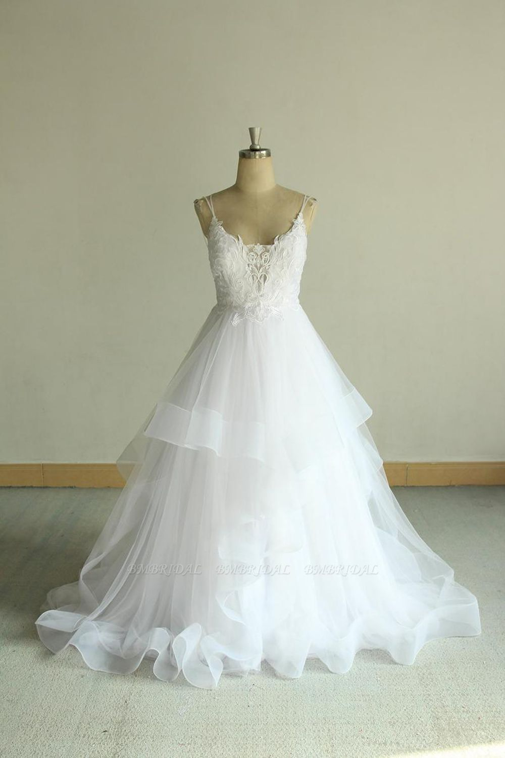 BMbridal Sexy Spaghetti Straps Tulle White Wedding Dress Sleeveless A-line Bridal Gowns On Sale