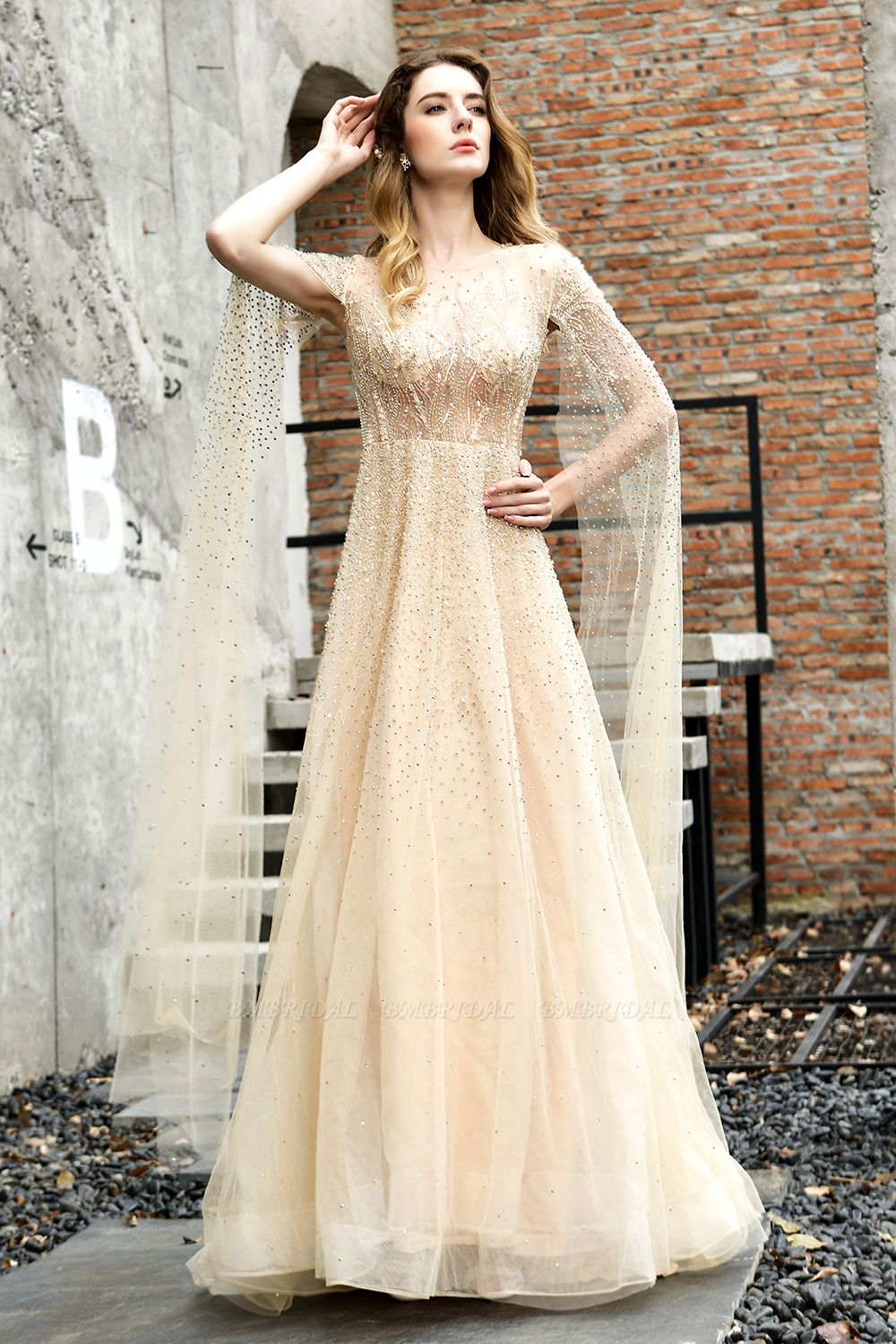 BMbridal Luxurious Tulle Crystals Long Prom Dress Online With Ruffle Sleeves