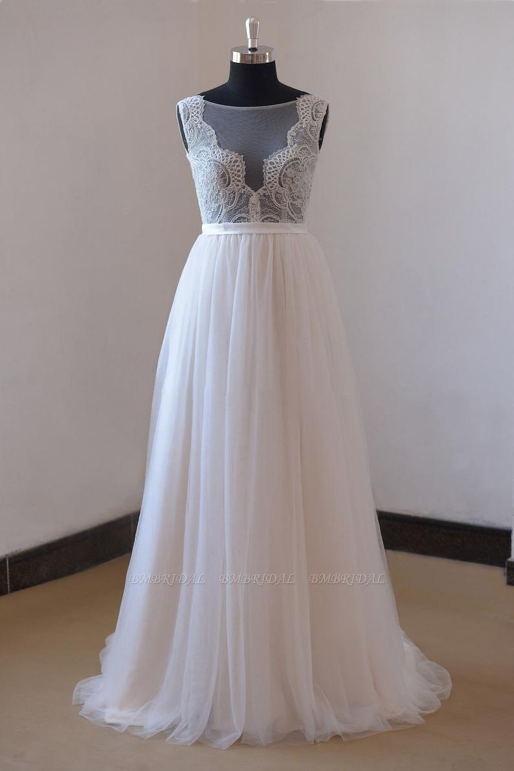 BMbridal Affordable Appliques Tulle Sleeveless Wedding Dress White A-line Jewel Bridal Gowns On Sale