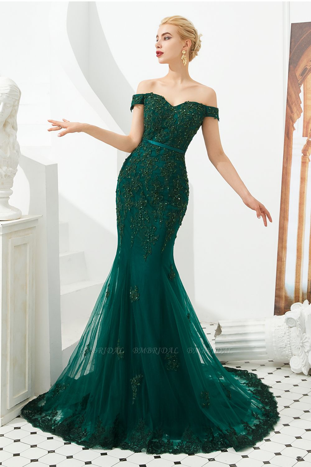 BMbridal Off-the-Shoulder Green Prom Dress Long Mermaid Evening Gowns With Lace Appliques