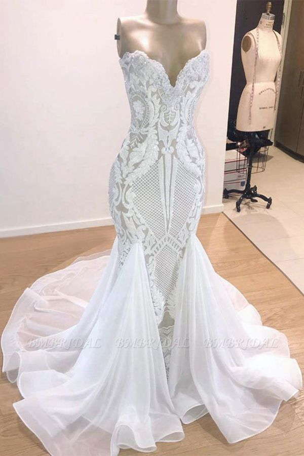 BMbridal Chic Sweetheart White Mermaid Wedding Dresses With Appliques Tulle Ruffles Bridal Gowns On Sale