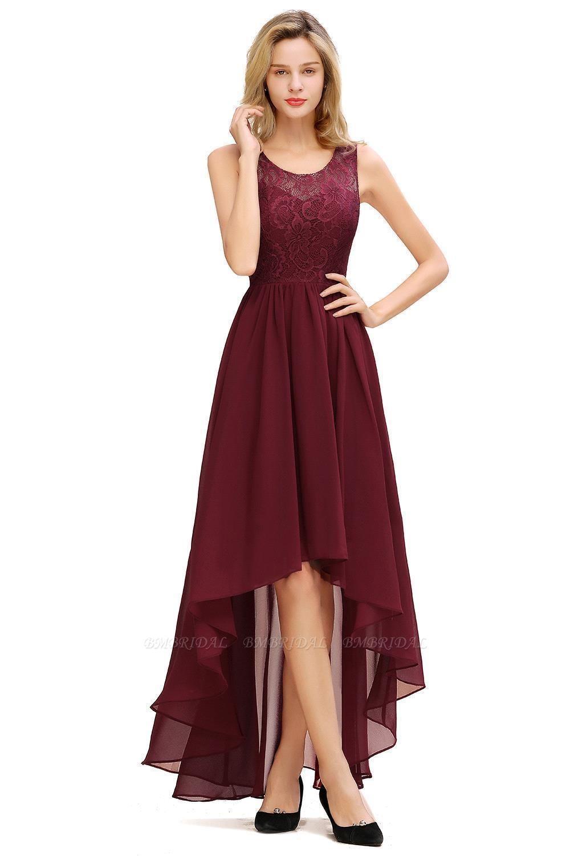 BMbridal A-line Hi-lo Chiffon Lace Bridesmaid Dress