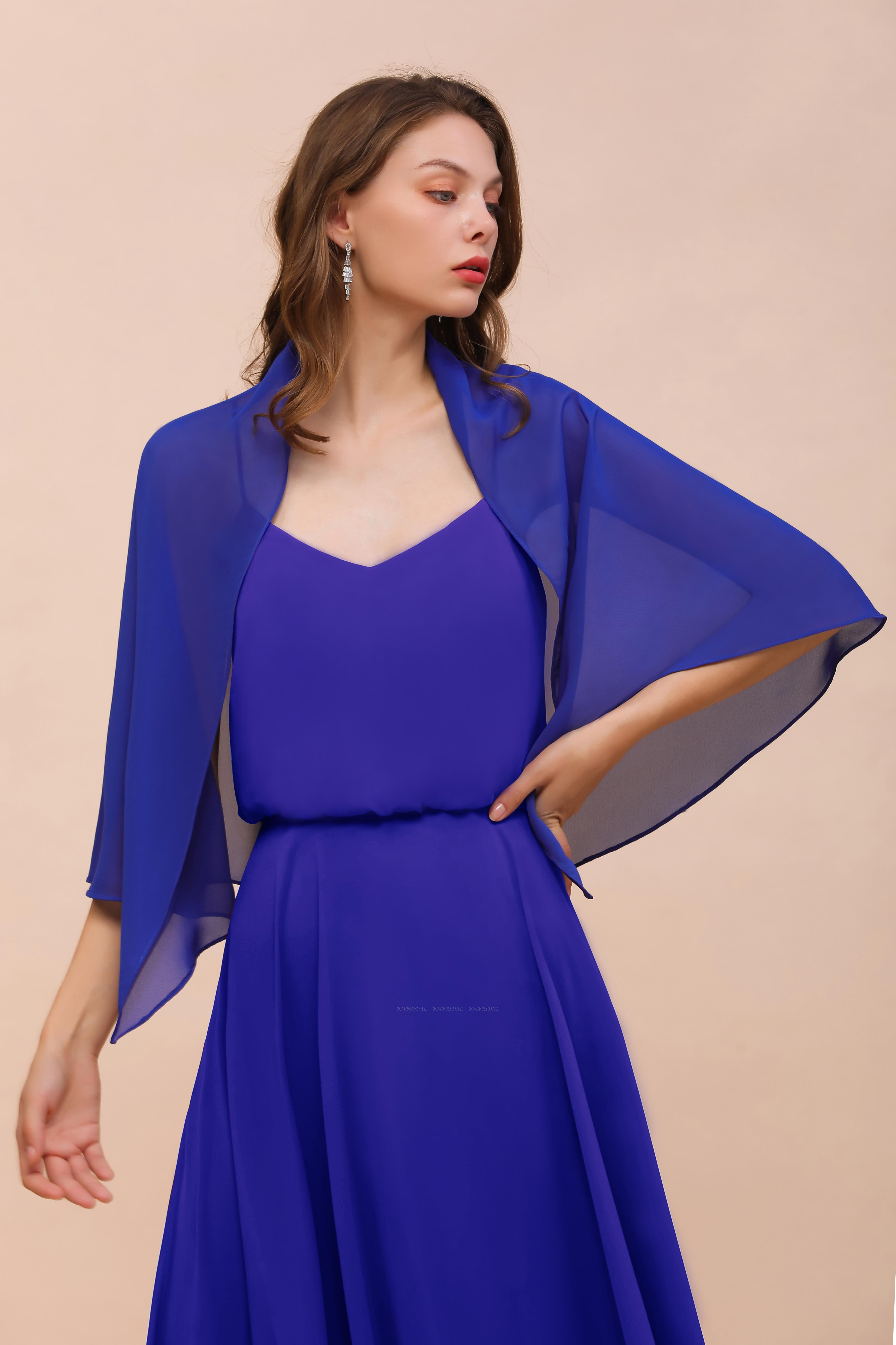 Royal Blue Chiffon Special Occasions Wraps