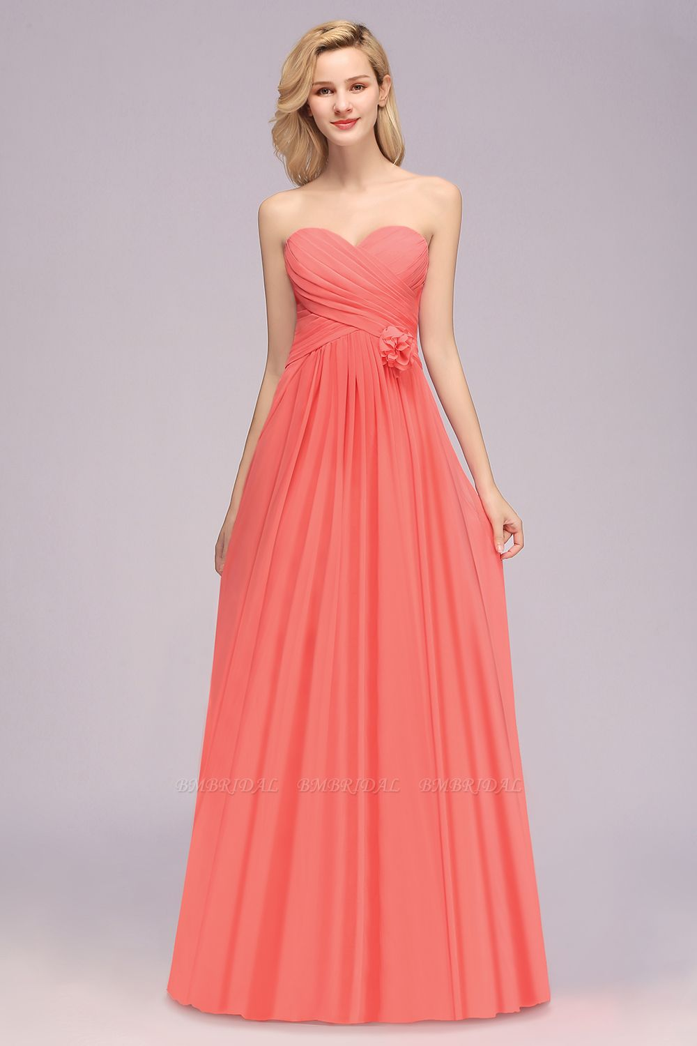 Affordable Sweetheart Strapless Chiffon Bridesmaid Dress with Flower