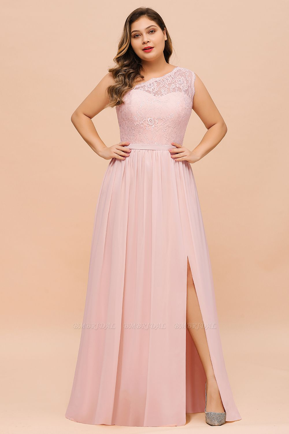 Chic One-Shoulder Pink Lace Bridesmaid Dresses with Slit