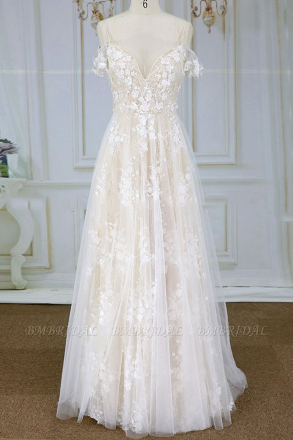 Stylish Spaghetti Straps Off-the-shoulder Appliques Wedding Dresses A-line Tulle Lace Bridal Gowns On Sale