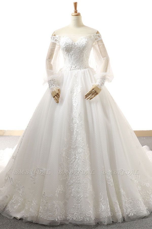 BMbridal Affordable Longsleeves Appliques Tulle Wedding Dresses A-line Lace White Bridal Gowns On Sale