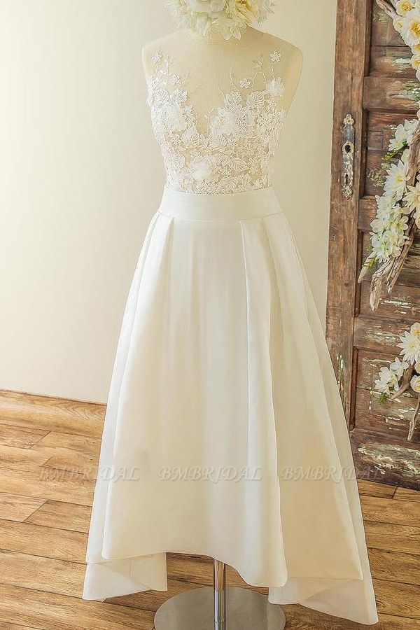 BMbridal Affordable Sleeveless Straps Jewel Wedding Dresses Satin Appliques Lace Bridal Gowns On Sale