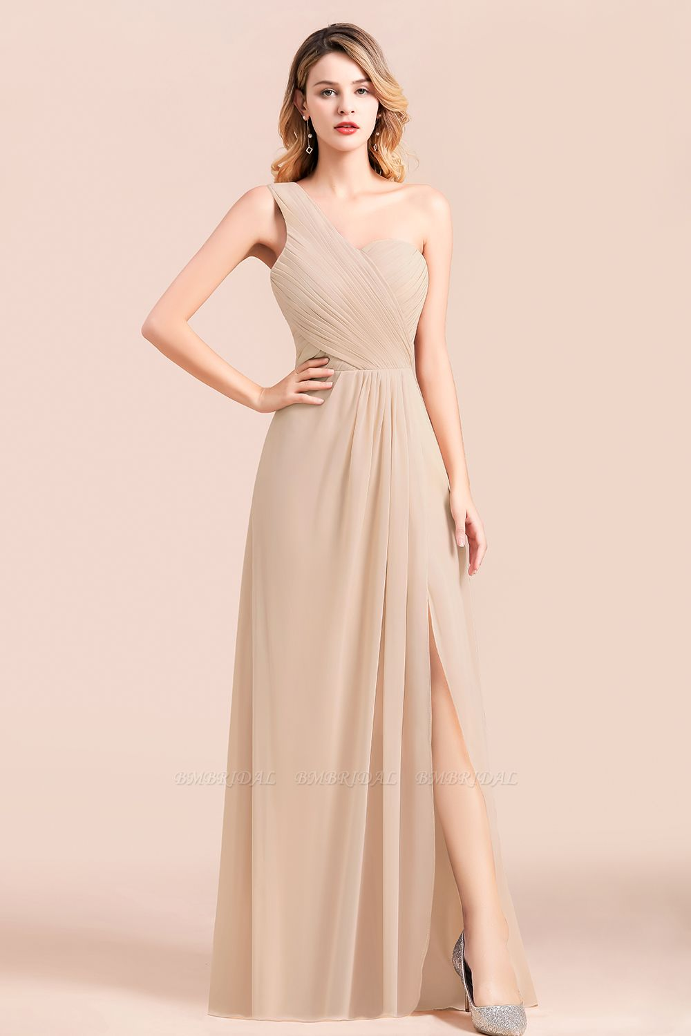 Chic One Shoulder Ruffle Champagne Chiffon Bridesmaid Dress